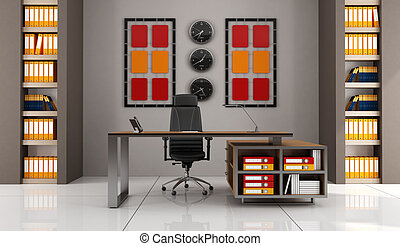 contemporary office with modern desk - rendering