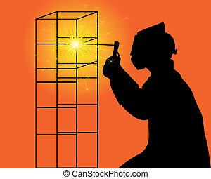 silhouette of a welder - black silhouette of a welder on an...