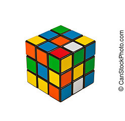 Puzzle cube isolated on white background - An isolated photo...