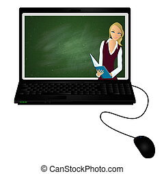 E-tutor - Lap top with virtual tutor on the screen