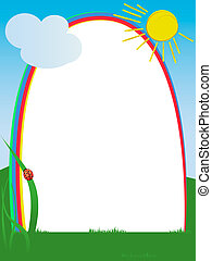 Rainbow frame decorated with doodle sun, ladybug grass and...