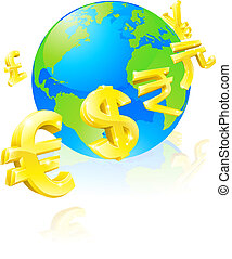 Currencies signs globe concept - International currency...