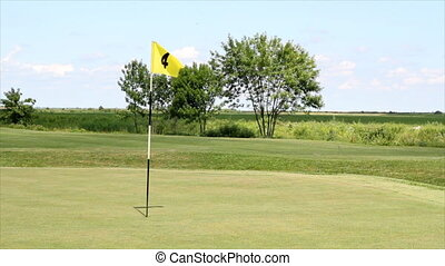 yellow flag number four - golf yellow flag number four
