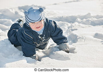 Toddler discovering snow