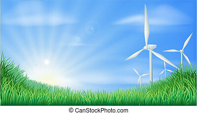 Wind turbines landscape illustratio - Illustration of wind...