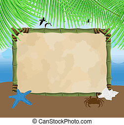 Beautiful seaside background with bamboo frame