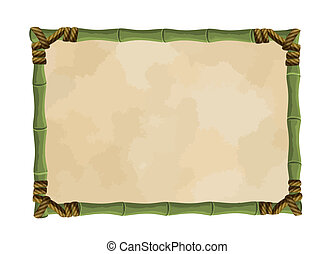 Bamboo frame with canvas isolated on white, vector...