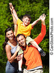 Summer fun - Family having fun in summer, positive emotions...