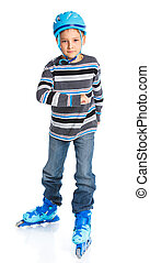 young skater - Cute young skater isolated on white...