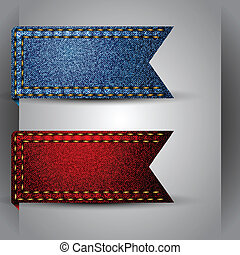 Vector made of jean fabric ribbon - Illustrator vector image