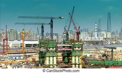 Shanghai construction timelapse - Shanghai construction site...