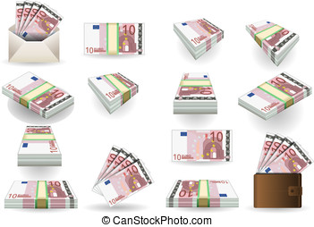 full set of ten euros banknotes - Detailed animation of a...