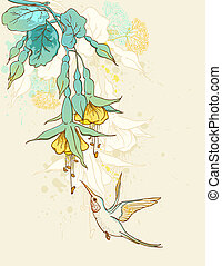 Flowers and humming-bird - Floral background with...