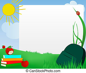 Outdoors class - Nature scenery with books, apples,schoolbag...