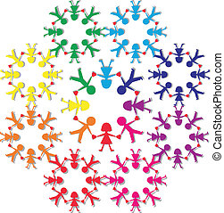 Colorful people - Colorful paper people cut out illustration