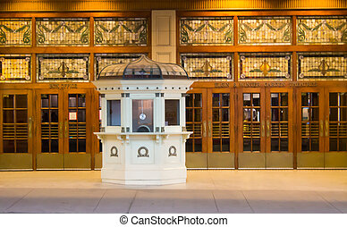Old box office for the Elgin Winter Garden Theatres in...
