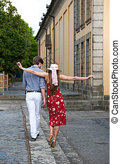 Cheerful young couple posing