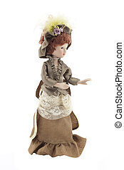 retro porcelain doll - beautiful retro porcelain doll on a...