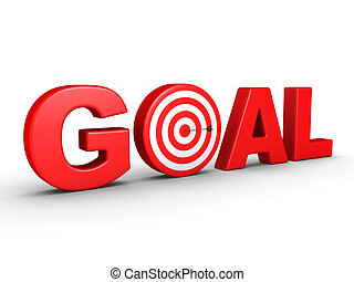 The word GOAL as a target and an arrow