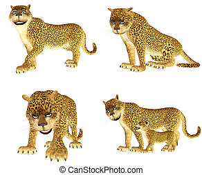 Leopard Pack - Illustration of a pack of four (4) leopards...