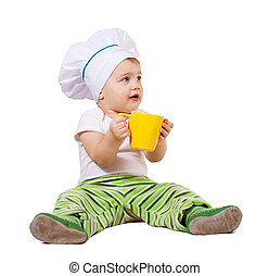 Baby cook   over white background