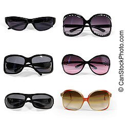 collection of sunglasses isolated