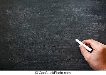 弄髒, 黑板, 背景, 手, 藏品, 粉筆, 寫
