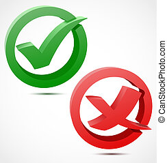 3d green and red check mark symbols Vector illustration