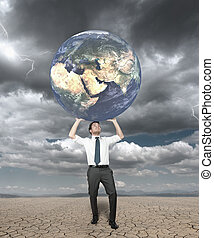Businessman protects the world from the storm