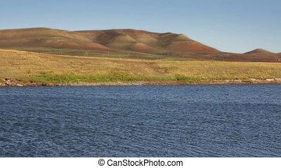 summer lake and hills landscape