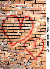 Urban Valentine's - Drawing of hearts on the wall.