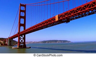 aerial Golden Gate Bridge - colorful Golden Gate Bridge.