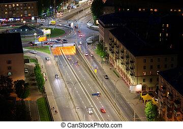 night city aerial view, Kyiv, Ukraine
