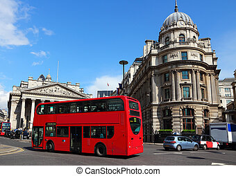 London, United Kingdom - typical red double-decker bus with...