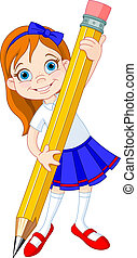 Girl holding pencil - Illustration of Little Girl and Giant...