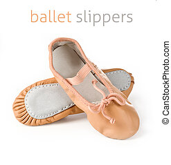 ballet slippers - Small pink ballet slippers on a white...