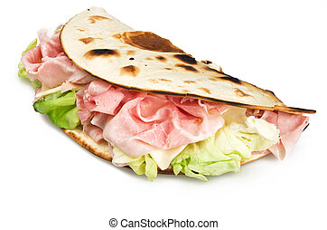 Piadina romagnola with ham salad and cheese