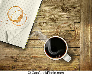 Start morning with strong coffee - Cup of hot black coffee...