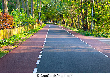 Empty rural road Through Forest and private territory