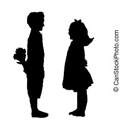 A boy and a girl with flowers silouette - A sillouette of a...