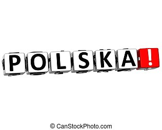 3D Polska Button Click Here Block Text over white background
