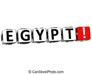 3D Egypt Button Click Here Block Text