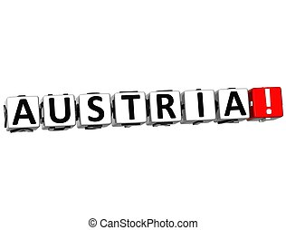 3D Austria Button Click Here Block Text