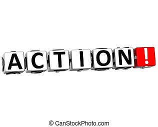 3D Action Button Click Here Block Text