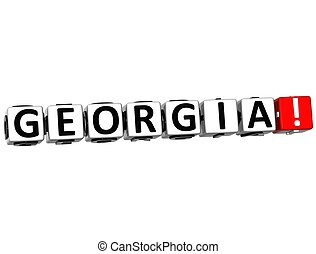 3D Georgia Button Click Here Block Text