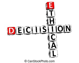 3D Ethical Decision Crossword on white background