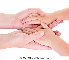 Mother holding childs hands