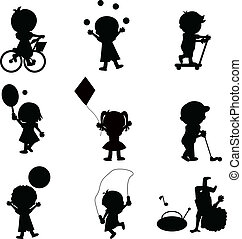 happy children silhouettes background for activity and...