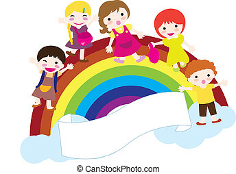 children and rainbow background - happy children with...