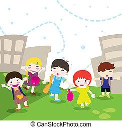 children going to school - happy children going to school...